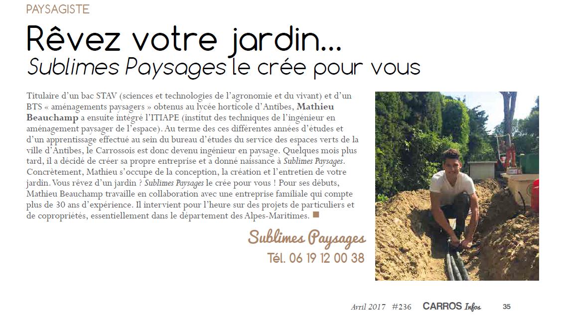 Carros info parle de Sublimes Paysages - A votre service pour transformer votre rêve en réalité.