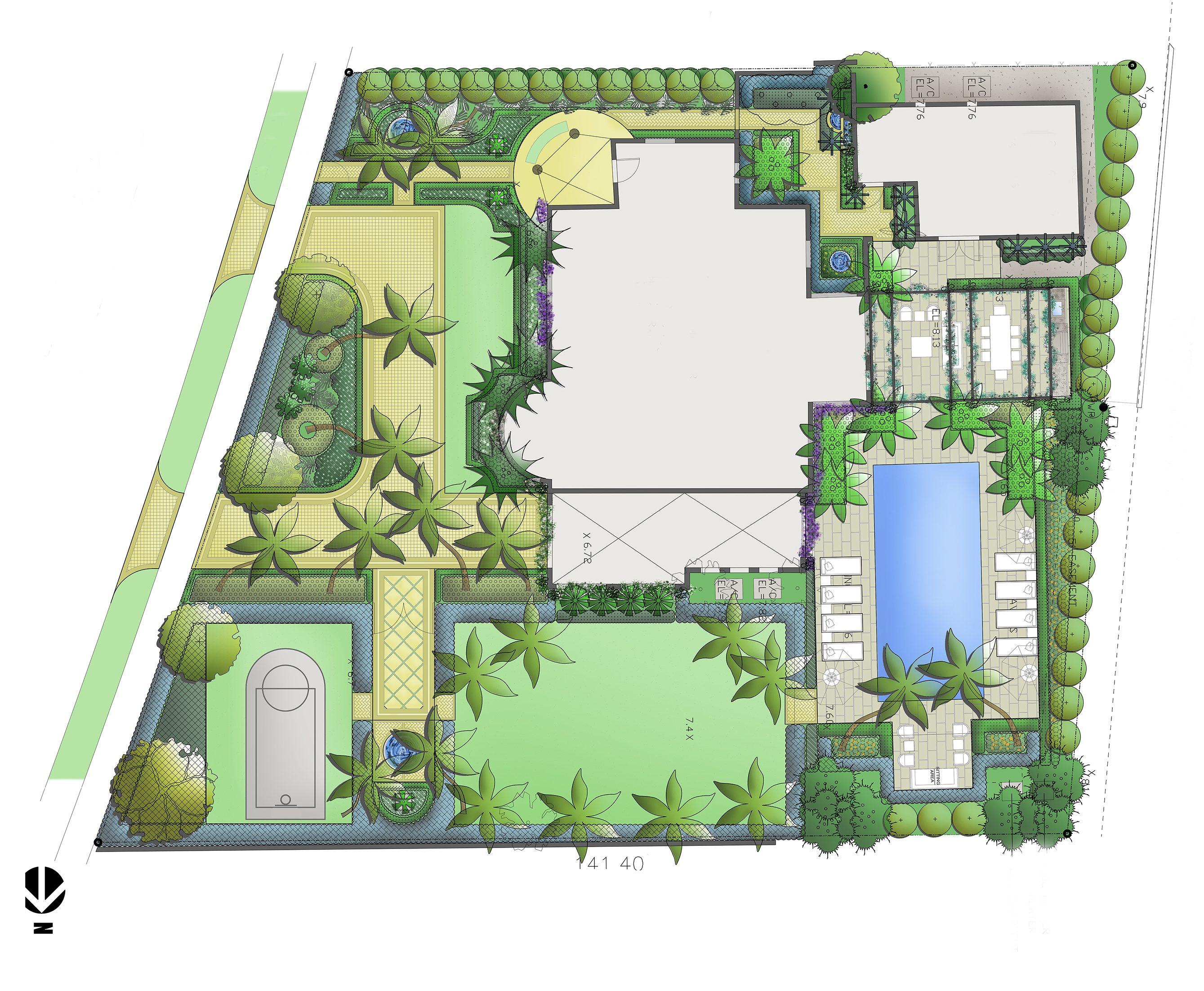 Sublimes Paysages est un bureau d'études qui prend en charge vos projets de conception et de réalisation d'espaces paysagers dans les Alpes Maritimes et Var. Exemple de plan masse